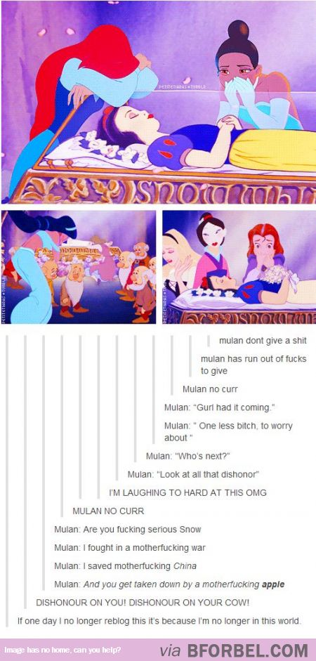 While Other Disney Princesses Mourn For Snow White, Mulan don't give any fucks