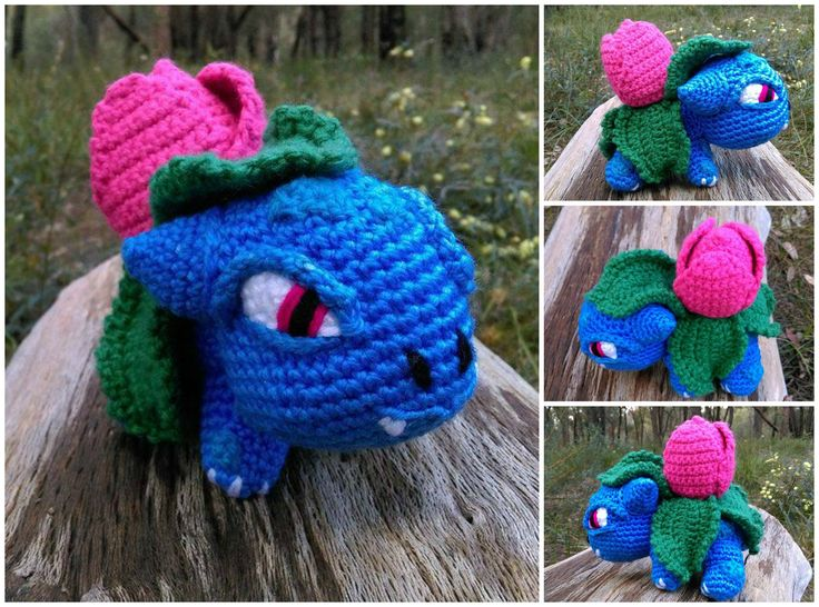 'Ivysaur' - Collage.  'Pokemon'.   Project information and pattern link here;  http://www.ravelry.com/projects/LindaDavie/baby-bulbasaur