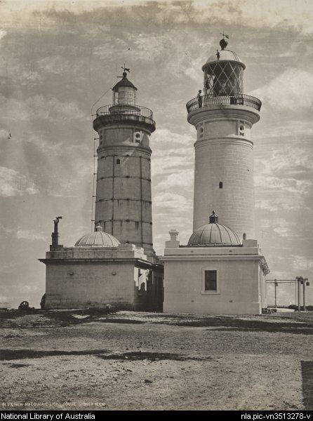 Old & new Macquarie Light House, Sydney N.S.W. 1884. Francis Greenway designed the old, original one on the left. It was later demolished.