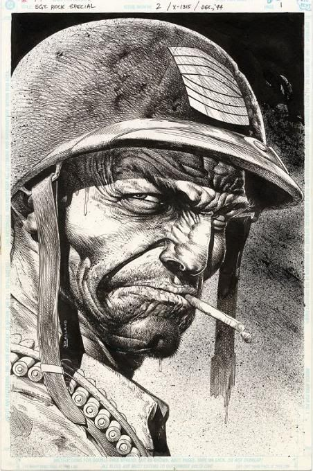 This is definitely the most badass Sgt. Rock has ever looked. Art by Brian Bolland (who also drew Batman: The Killing Joke)