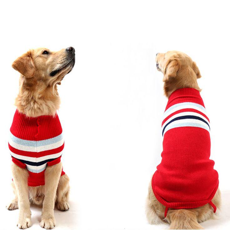 Mignon Bande Pet chien chat crochet Pull en tricot vêtements grand chien de grande taille Manteau veste golden retriever Labrador chien vêtements à capuche dans Dog Coats & Jackets de Maison & Jardin sur AliExpress.com | Alibaba Group