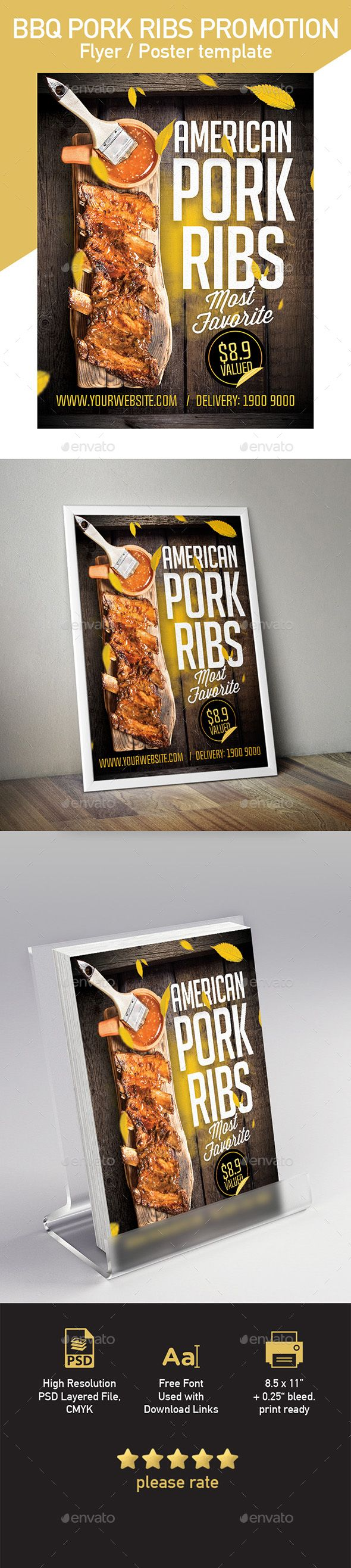 Pork Ribs Template for Flyer or Poster Template PSD