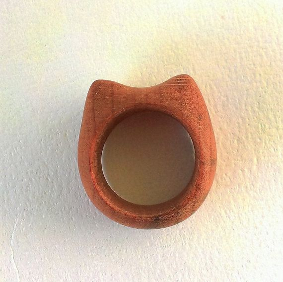 CAT RING  Hand Carved Wood Ring  Wooden Ring  by STandoneART