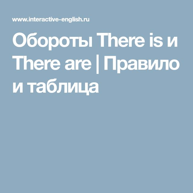 Обороты There is и There are | Правило и таблица