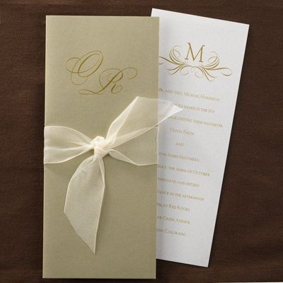 this pearl shimmer card has a gold wrap with a chiffon With ribbon around wedding invitations