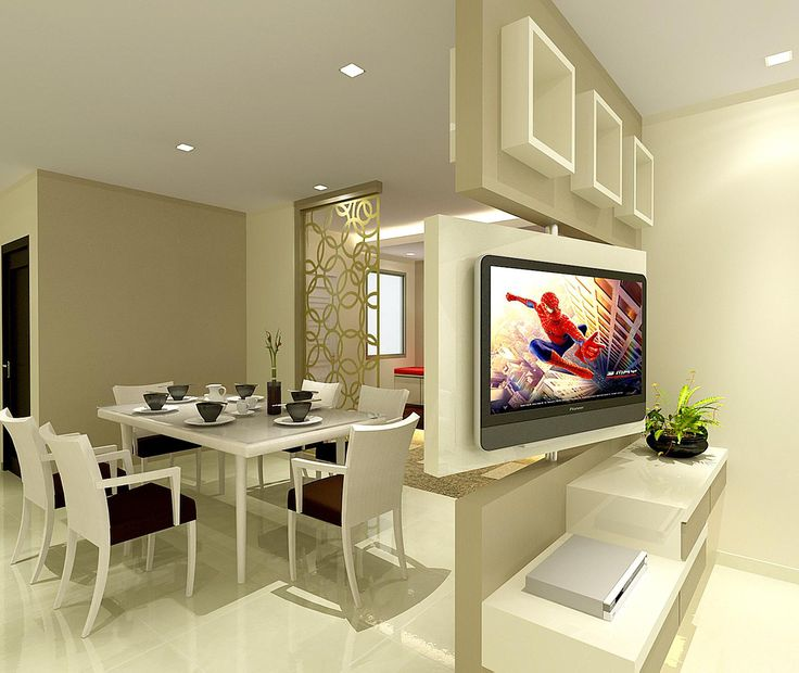 Living/Dining - 180degrees rotatable TV feature wall that allows the view from both living & dining.