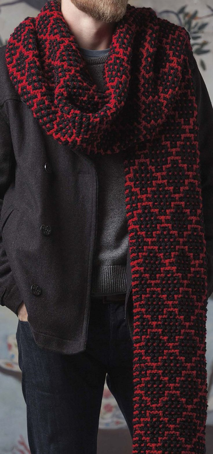 Mosaic Super Scarf Knitting Pattern is one of the six designs in Super Scarves to Knit from Leisure Arts All are about 14 inches wide and 120 inches long. The designs by Lisa Gentry include Pebbles, Radiance, Regency, Reversible Cables, Chevron, and Mosaic. See more pics and get the book (digital or paperback) at http://www.shareasale.com/r.cfm?u=1112880&b=146498&m=19565&afftrack=mosaicsuperpin&urllink=www%2Eleisurearts%2Ecom%2Fcatalog%2Fproduct%2Fview%2Fid%2F10176%2F