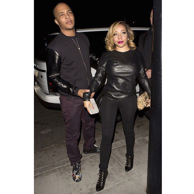 """T.I. & Tiny were spotted in all black having a """"date night"""". Tiny looks good! cr: @fashionbombdaily #majorgirl  #troubleman31"""