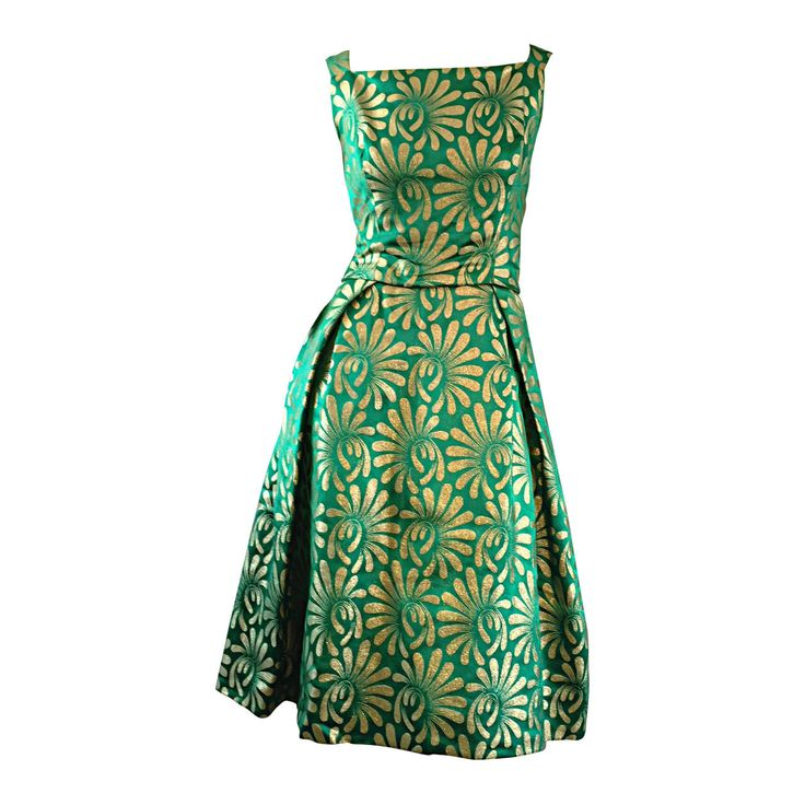 1950s 50s Vintage Blauner for Bonwit Teller Green + Gold ' New Look ' Silk Dress | 1stdibs.com