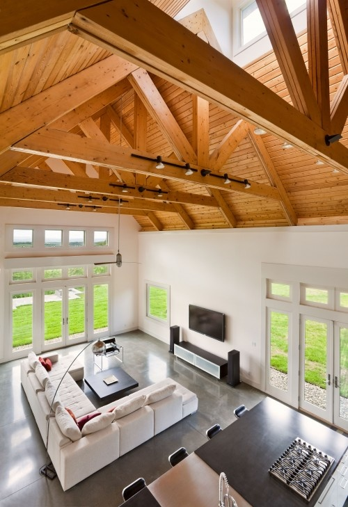What's under a pitched roof? Beautiful beams, triangular shapes and rhythm of form