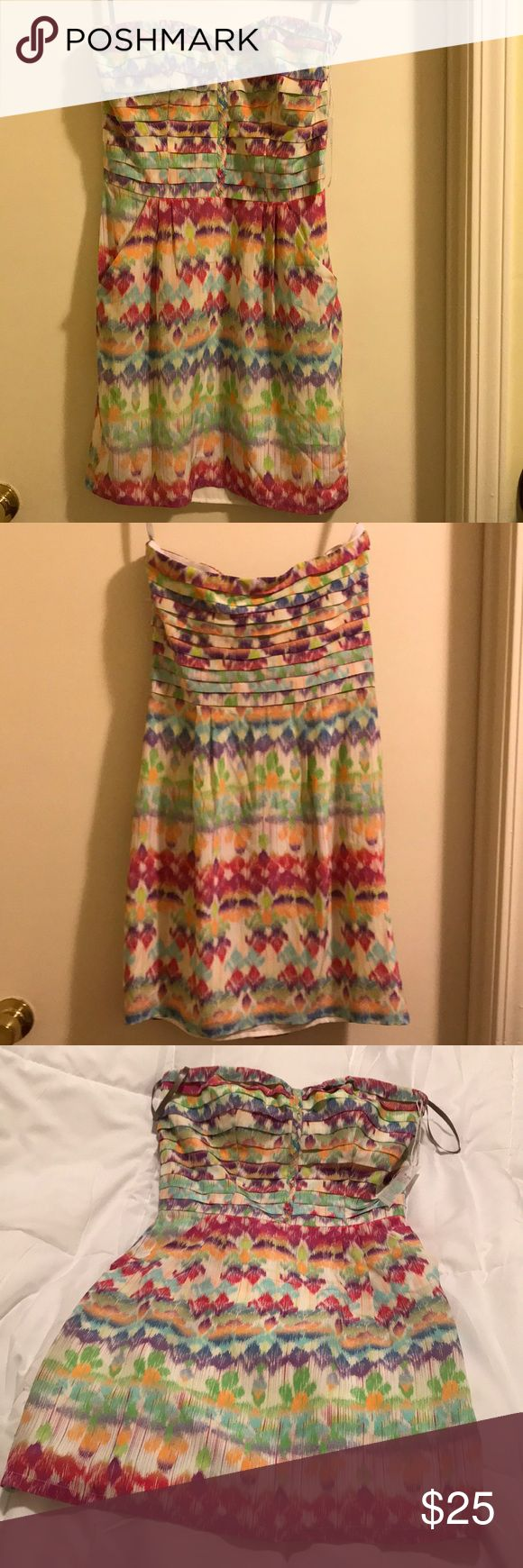 Charlie Jade multicolored Dress. Chic Charlie Jade multicolored dress. Strapless with side pockets. NWOT. Charlie Jade Dresses Strapless