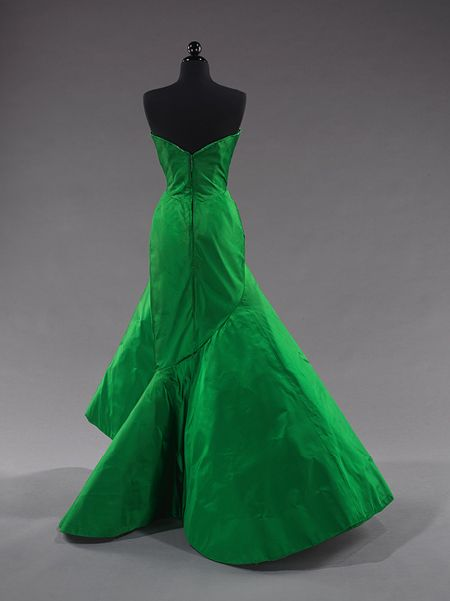 Ball gown, 1954 Charles James (American, born Great Britain, 1906–1978) Emerald green silk satin Brooklyn Museum Costume Collection at The Metropolitan Museum of Art, Gift of the Brooklyn Museum, 2009; Gift of Jean de Menil, 1955 (2009.300.3522)