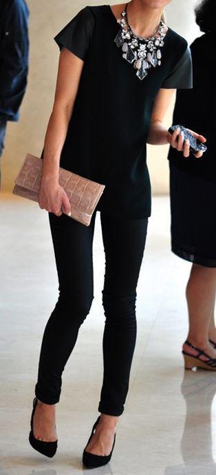 All black, statement necklace... | https://www.pinterest.com/shopsatwestend/the-fashion-community