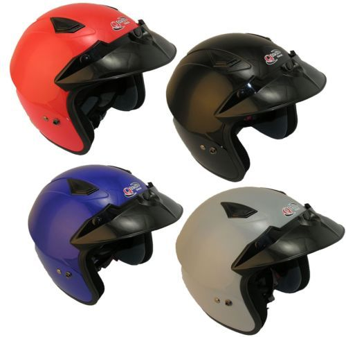 Scooter-Motorcycle-OPEN-FACE-Helmet-by-Qtech-RED-Silver-BLACK-Blue-EC-22-05  £24.95