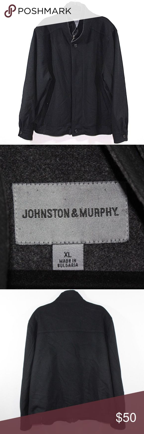Johnston & Murphy Wool Cashmere Outdoor Jacket XL Johnston & Murphy Full Zip Windbreaker Jacket  Excellent jacket  Comes from a smoke-free household  Black  The size is XL and the measurements are 27 inches underarm to underarm and 29.5 inches shoulder to base.  80% Wool 20% Cashmere  Check out my other items for sale in my store!  G67 Johnston & Murphy Jackets & Coats Pea Coats