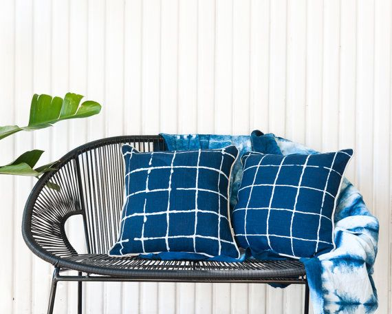 Indigo Resist Windowpane Check Cushion Naturally Dyed by Bind | Fold Melbourne Australia Limited Edition