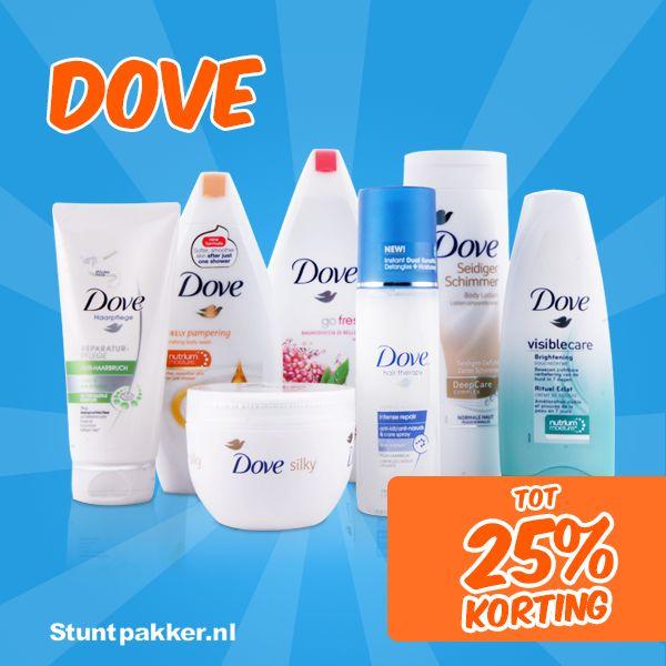 Tot 25% KORTING op Dove!  Dove heeft een groot assortiment aan producten voor de perfecte persoonlijke verzorging voor mannen & vrouwen.  Bekijk ons assortiment op www.stuntpakker.nl