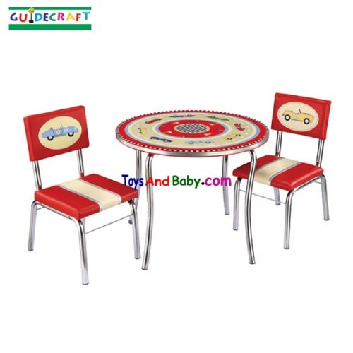 Guidecraft Retro Racers Table U0026 Chairs Set T85802 Zippy Race Cars Speed  Back In Time To