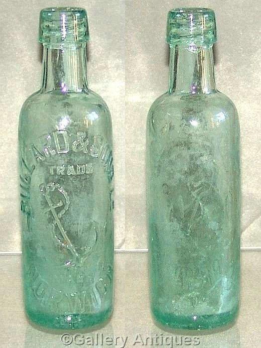 antique Victorian Bullard & Sons, Norwich anchor mark Large Aqua colour Glass soda Mineral Bottle c.1880's Redfearn Bros (ref: 3004)