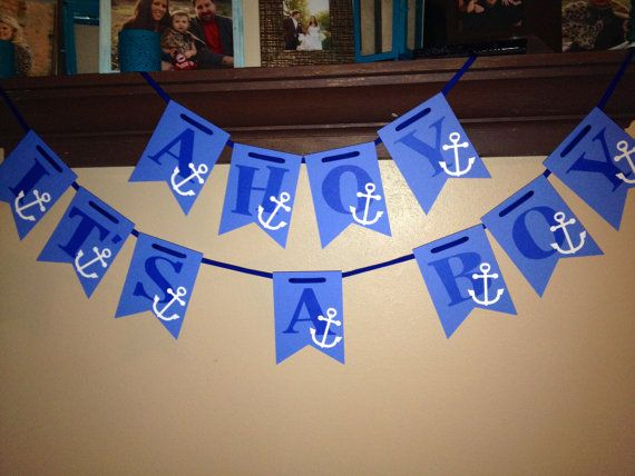 Ahoy, It's a Boy -  Baby Shower Anchor Banner, available on Etsy.