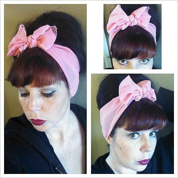Pink Vintage Style Chiffon Hair Scarf Headwrap Hair Bow 1940s 1950s Rockabilly - Pin Up - For Women, Teens