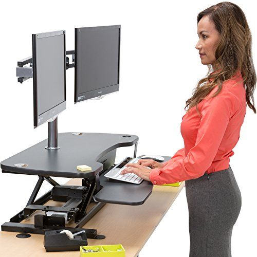 "Black 36"" Electric Standing Desk Converter Adjustable Desk Riser With Keyboard Tray and Dual Monitor Grommet - Convert Your Desk to a Sit-To-Stand Ergonomic Workstation So you've realized that periodic standing at work will maximize human performance and minimize pain and chronic fatigue. Consider the VersaDesk PowerPro, the most expertly crafted standing desk converter on the market. Built from 14-gauge steel with a scratch-proof glossy finish, we focused on stability"