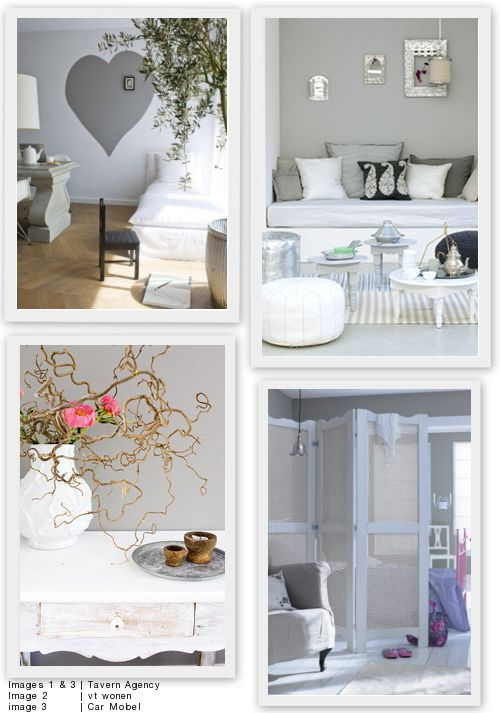 Binnenkijker uit VT wonen, mooi dat zachte grijs met wit en kleuraccenten