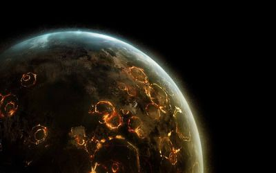 Explosions on the planet wallpaper