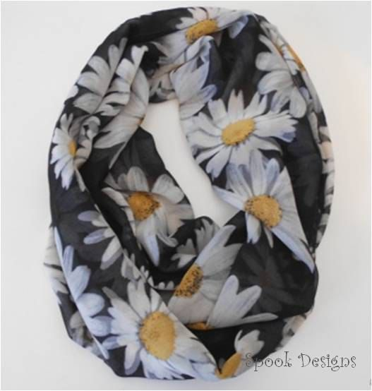 A personal favorite from my Etsy shop https://www.etsy.com/listing/262466085/infinity-scarf-chiffon-daisy-on-black