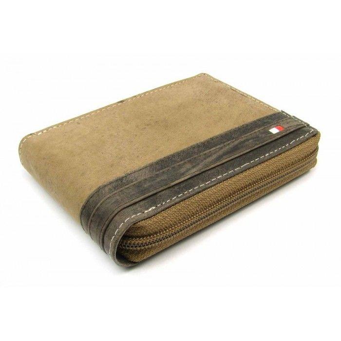 Peněženka pánská na zip tmavě hnědá - peněženky AHAL