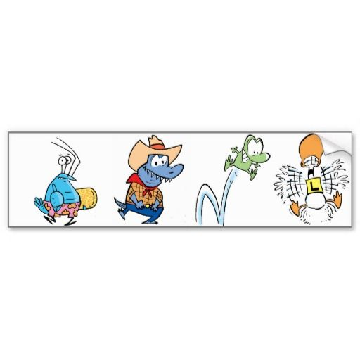 Here is a bumper sticker with Bob the Crayfish, Cowboy Croc, Mort the Frog and Ding Duck. #zazzle #bumpersticker #cartooncharacters $5.75
