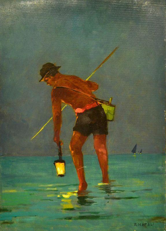 """Renato Natali ( 1883-1979 ), """"Pescatore""""  olio su tavoletta, cm 70x49 POGGIO BRACCIOLINI LIVE - Pandolfini Casa d'Aste. Gioielli, Argenti, Modernariato, Dipinti, Mobili e Oggetti d'Arte 26 SETTEMBRE 2014"""