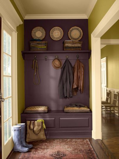 Paint a bench, wall, and shelf the same color to make it look like a built-in. I LOVE this!