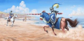 A Joust on the Beach  Don Quixote and the white knight face off in duel of honour...  Tom McGrath 2015 For Oxford University Press