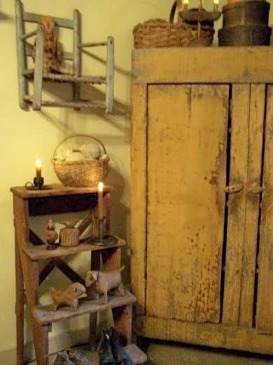 Primitive Mustard Cupboard & Old Step Shelf...with needfuls.