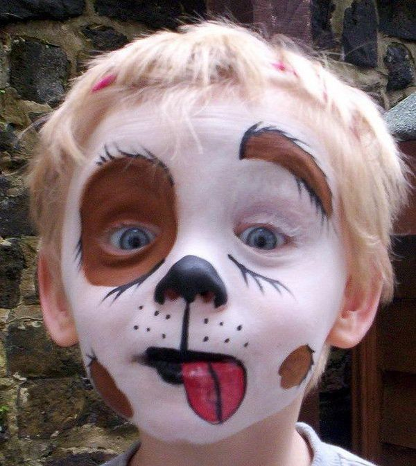 Puppy Dog Face Paint. Cool Face Painting Ideas For Kids, which transform the faces of little ones without requiring professional quality painting skills. http://hative.com/cool-face-painting-ideas-for-kids/