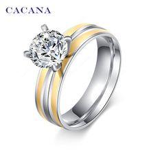 CACANA acier inoxydable anneaux pour les femmes 18 k plaqué or bijoux de mode en…