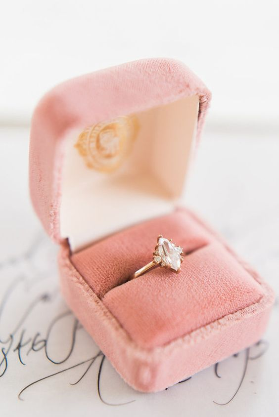 I love the color of this ring box! Absolutely gorgeous. It would also look so pretty in a muted eggplant, or an amethyst color.
