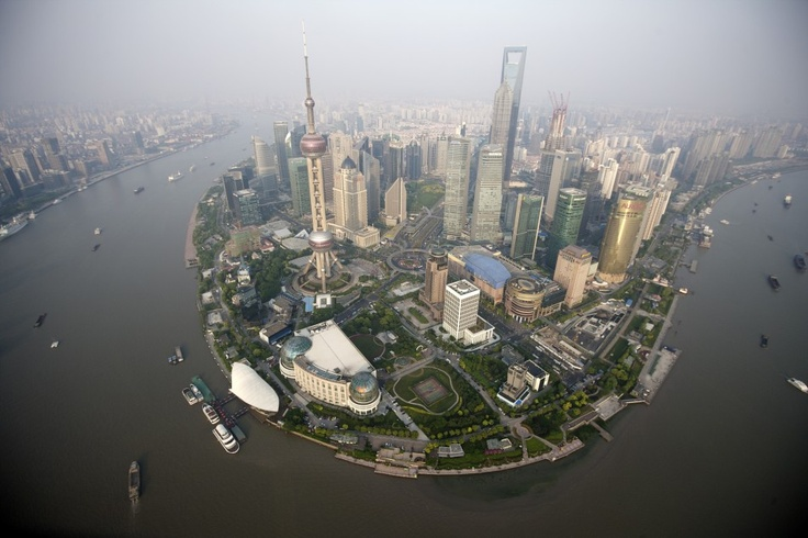 Mid-air plane shot of Lujiazui in 2009