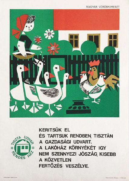 Vajda Lajos - Cordon off and keep the farmyard clean 1965 original Hungarian propaganda poster
