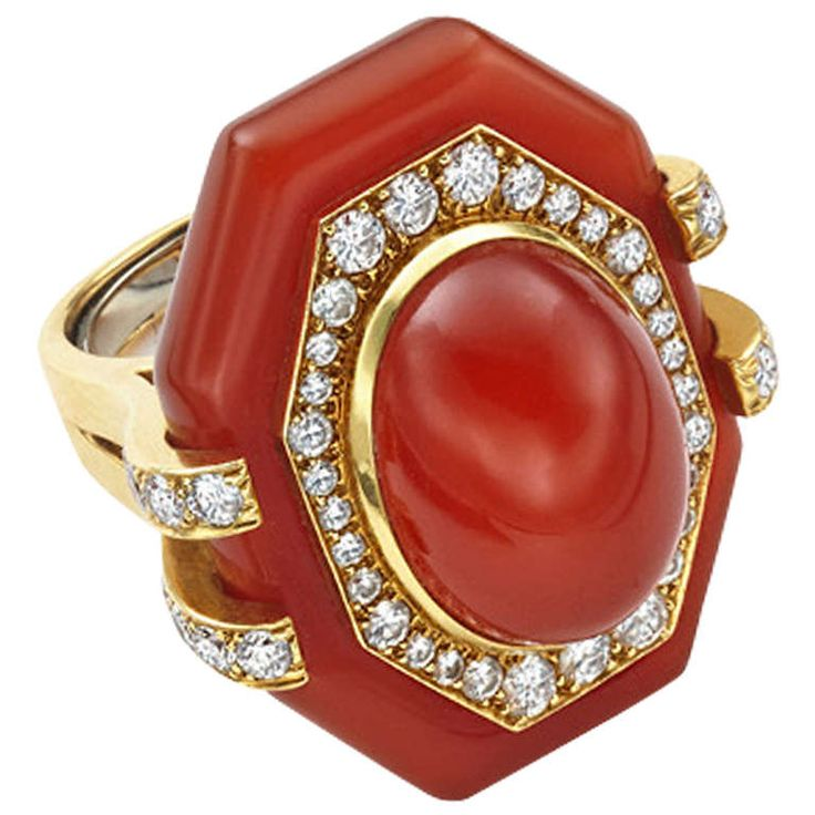 David Webb Carnelian Diamond Gold Ring | From a unique collection of vintage fashion rings at http://www.1stdibs.com/jewelry/rings/fashion-rings/