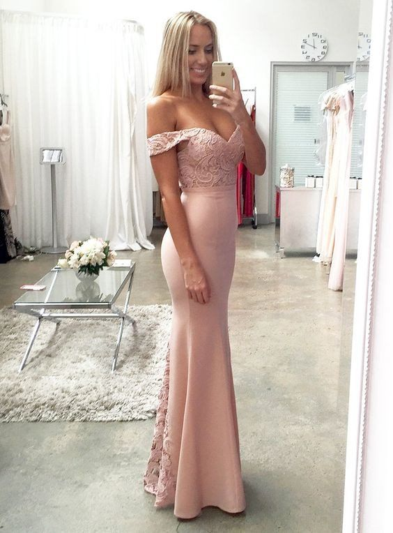 Off Shoulder Blush Pink Mermaid Evening Prom Dresses, Long Lace Party – SposaDesses
