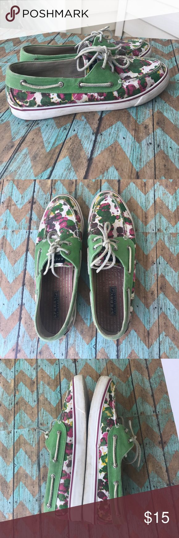 Sperrys Ink design sperrys! These are worn condition and could use a cleaning on the white rubber sides.  There are signs of wear on the bottom as well but they still have plenty of life left.! Sperry Top-Sider Shoes Flats & Loafers