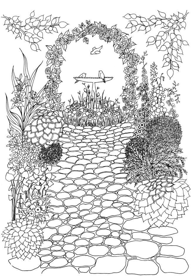 колода картинки красивого сада карандашом земель, нежилых