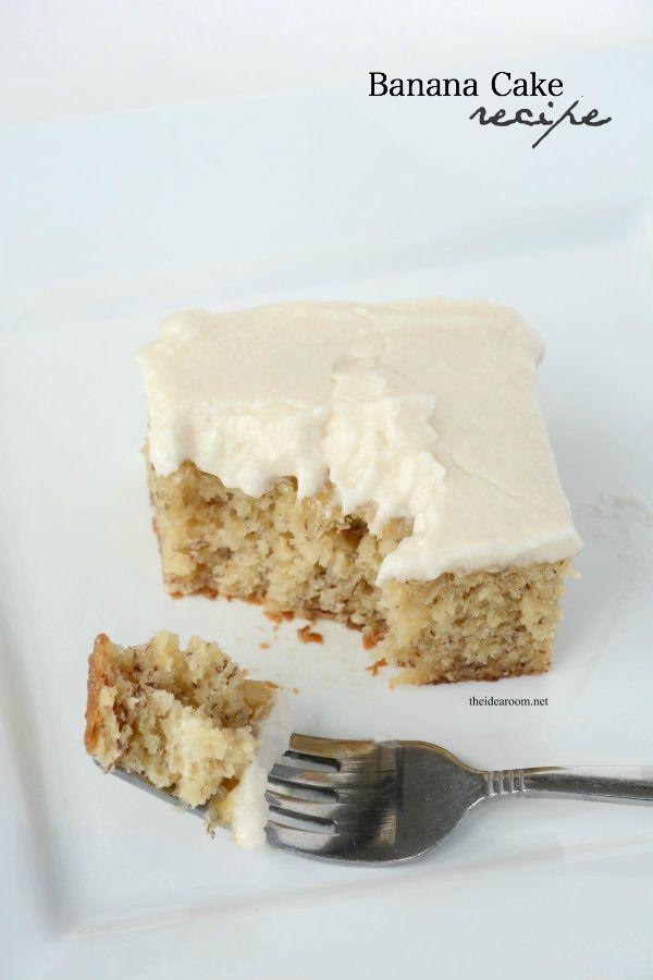 Best Banana Cake Recipe with Vanilla Frosting   theidearoom.net