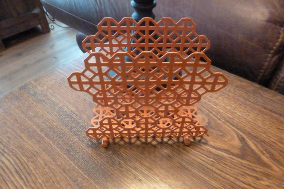 Vintage Napkin Holder, Orange, Geometric Design, Upcycled, Napkins, Industrial Decor, Minimalist, Home Decor, Industrial, Napkin Holders on Etsy, $22.00