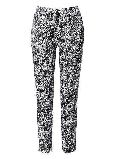 Cotton/Spandex all over print pant. Neat silhouette with tapered leg. Features fly front with hook & eye closure, side and back pockets. Available in Multi as shown.
