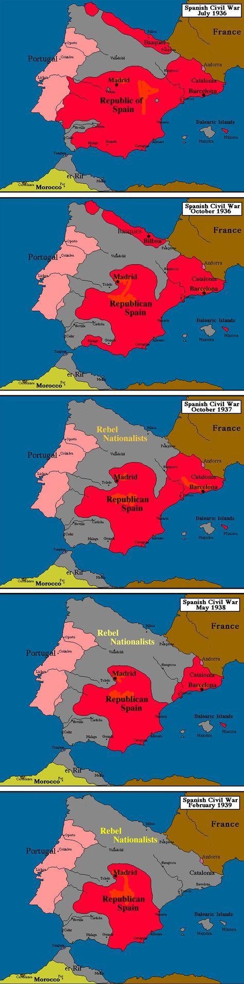 Évolution des territoires pendant la Guerre d'Espagne