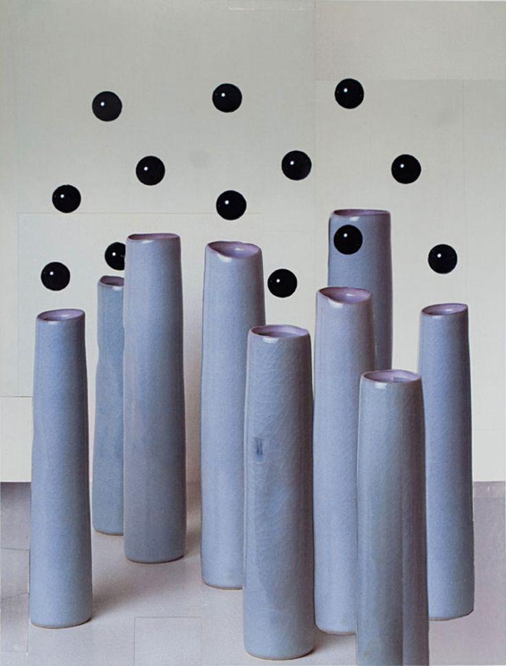 Untitled (black spheres and blue vases) by Nicole Wermers