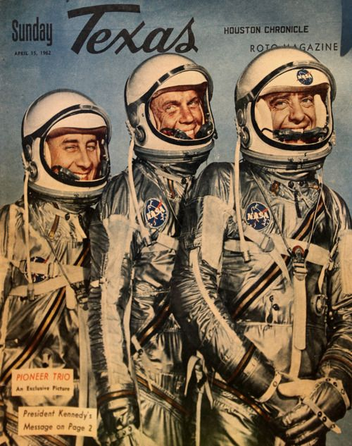 Pioneer trio - Gus Grissom, John Glenn, Alan Shepard on the cover of Sunday Texas, April 15, 1962.  From the collection of Kennedy Space Center Visitor Complex.